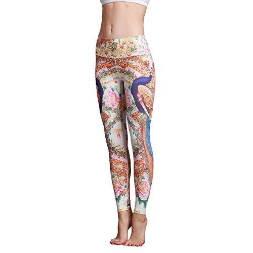 Befullo Women's Yoga Pants Capri Legging Workout Gym Tights (L, Peacock)