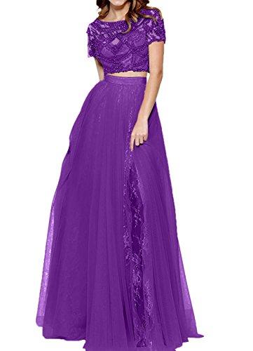 Charmant Romantisch Lila Promkleider Lang Abendkleider Zwei Spitze teilig Kleid Abschlussballkleider Damen FrOg5wqnF