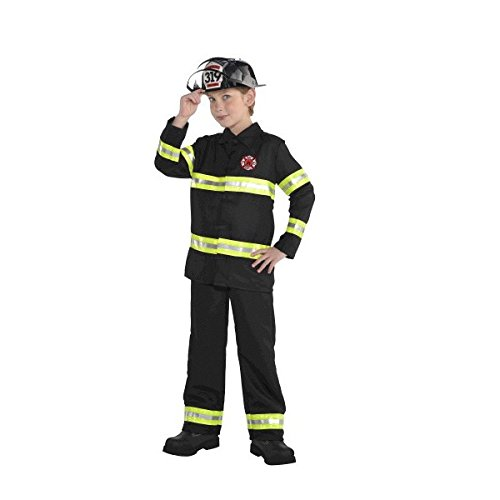 [Amscan Boys Little Boy's Firefighter Halloween Costume Black (Medium, Black)] (Funny Uniform Costumes)