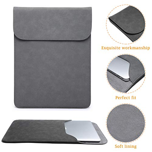 HYZUO 15-16 Inch Laptop Sleeve Case Compatible with 2019 MacBook Pro 16 A2141/ Surface Laptop 3 15 Inch/Dell XPS 15/2012-2015 Old MacBook Pro Retina 15 A1398, Dark Gray