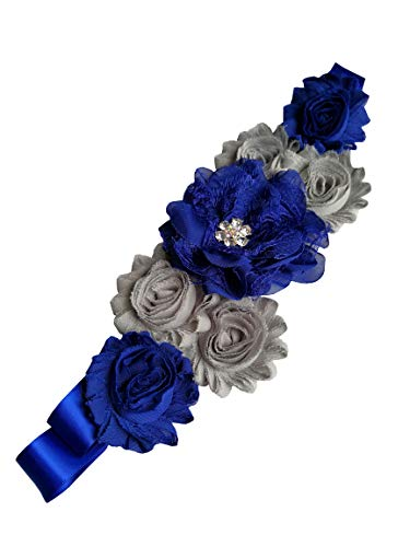 Flowers maternity sash wedding sashes romantic flowers sashes (Royal blue and silver)
