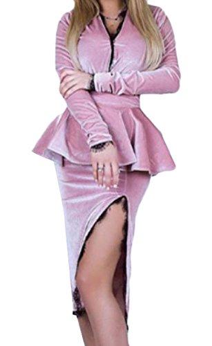 Taglio Del Vestito Lunghezza Metà Comodi A Pink1 Solido Moda Increspato Donne Delle Casuale Fuori q6ZZ1p