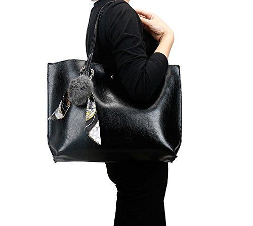 Cuir Designe épaule Tote Simple Cabas Porté en Noir Grande Bag avec Foulard MaysUrban Sac Capacité wXqgWHqyU