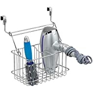 mDesign Over-Cabinet Hair Care Tools Basket for Hair Dryer, Flat Iron, Curling Wand, Straightener - Chrome