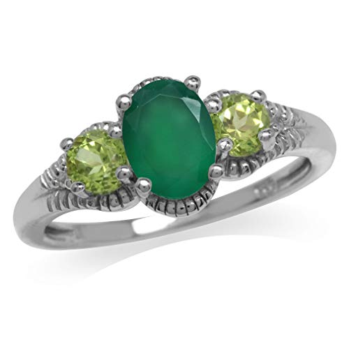 1.06ct. Natural Emerald Green Agate & Peridot White Gold Plated 925 Sterling Silver Ring Size 8