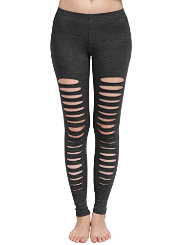 NE PEOPLE Womens Casual Elastic Ladder Cut Out Cotton Jersey Leggings ()
