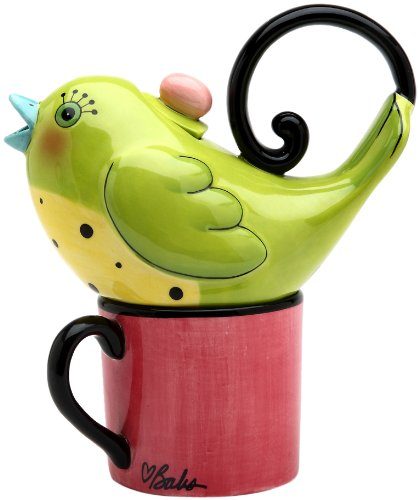 Appletree 6-7/8-Inch Ceramic Green Bird Tea For One
