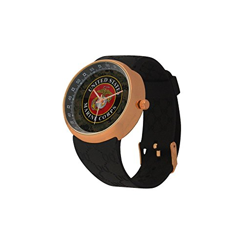 Novelty Gift USMC United States Marine Corps Men's Rose Gold Plated Resin Strap Watch by USMC Watch (Image #1)