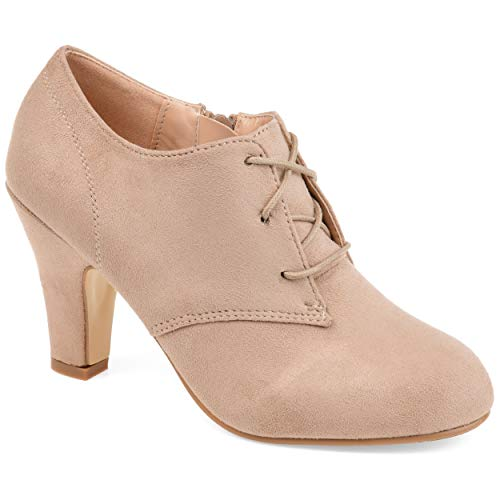 Journee Collection Womens Vintage Round Toe Lace-up Booties Taupe, 6.5 Wide Width US from Journee Collection