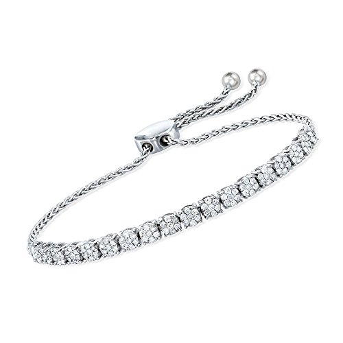 Ross-Simons 1.00 ct. t.w. Diamond Illusion Bolo Bracelet in Sterling Silver (Sparkling Bracelet Diamonds)