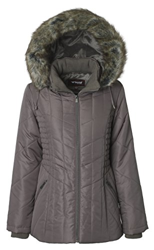 Sportoli Women's Midlength Ruched Detail Plush Lined Puffer Coat with Zip-Off Detacheable Fur Trim Hood - Fog with Polished GunMetal (Small) (Ruched Metal)