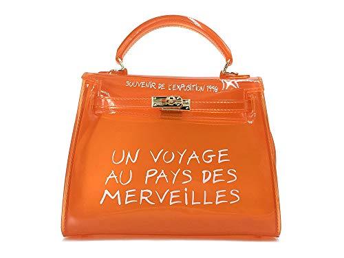 - Clear Crossbody Handbags, Fashion Women's Waterproof Clear Handbag Top Handle Shoulder Bag Transparent Purse (Small, Orange)