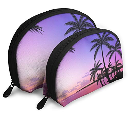 (MFILM FVAFN Palm Tree Makeup Storage Bag, Portable Half Moon Clutch Pouch for Women)
