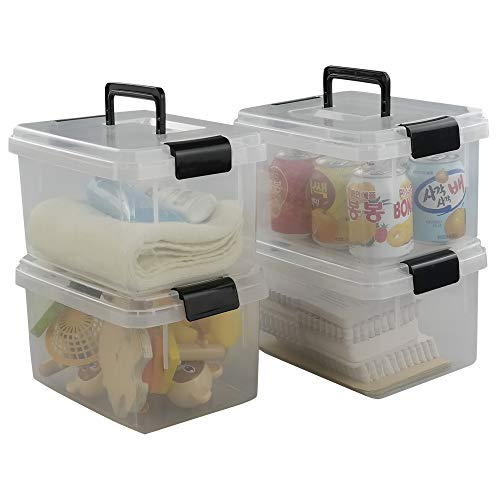 (Nicesh 4.5 L Plastic Storage Box, Clear Latch Box, 4-Pack)