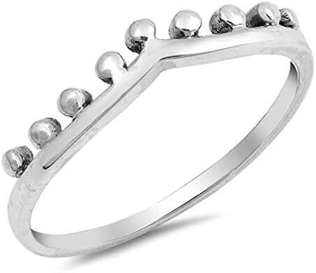 Chevron Crown Tiara Ball Bead Ring New .925 Sterling Silver Band Sizes 4-10