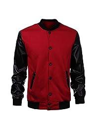 Autek Mens Baseball Jacket Autumn Fashion Slim Black Pu Leather Sleeve Bomber Jacket Men Brand Varsity Jackets