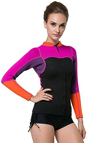 Neoprene Two Wetsuit Piece (KXCFCYS Women's 2mm Neoprene Wetsuits Jacket Long Sleeve Wetsuit Top Surfing Suit Modest Swimwear (Purple, XX-Large))