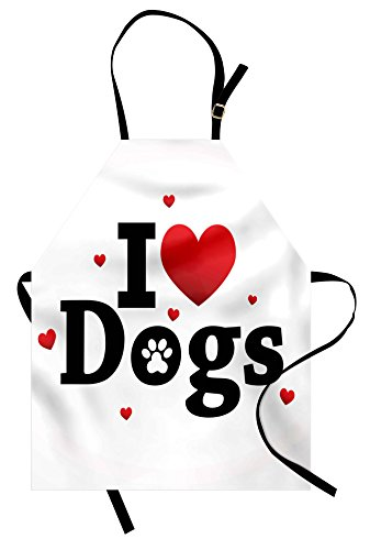 Lunarable Dog Lover Apron, I Love Dogs Sign Domestic Animal Pet Joy Friendship Companionship Themed Art, Unisex Kitchen Bib Apron with Adjustable Neck for Cooking Baking Gardening, Red Black White