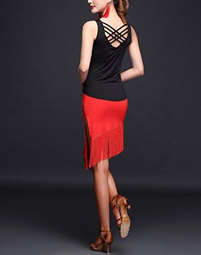 Whitewed Black Fringe Type Dance Dresses Salsa Side Piece Two with Latin Straps Red Slit BwarxfBq