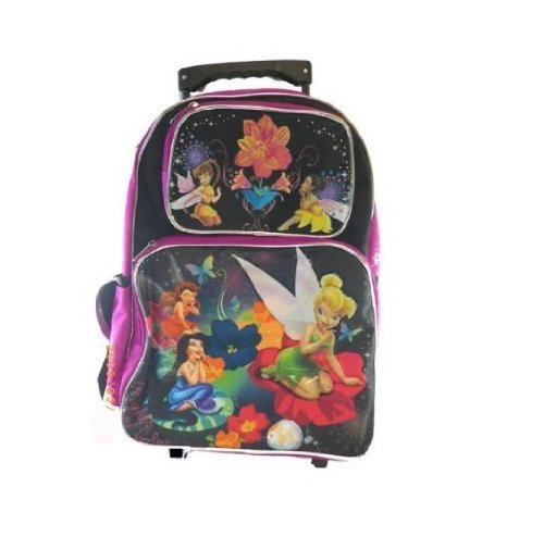(Tinkerbell Large Rolling Backpack - Disney Fairies School Bag New 505936)