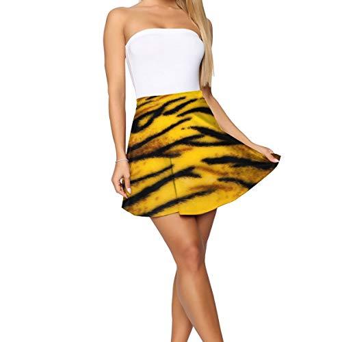 PLAYALLFUN Casual Tiger Skin Women's Mini Short Skirt Skater Yoga Beach Shorts Tennis Skirt Workout Active Apparel Sports Sexy Skorts L