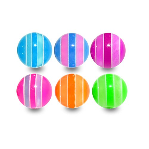 10 Pieces (5 Pairs) Mix Color Pack 1.6x6MM Threaded UV Multi Colored Stripe Acrylic Ball ()