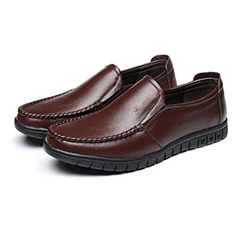 Mocassino Scarpe Classiche Slip In Opzionale perforazione Da Uomo on Vera scarpe Jialun Pelle Marrone 8qR1ww