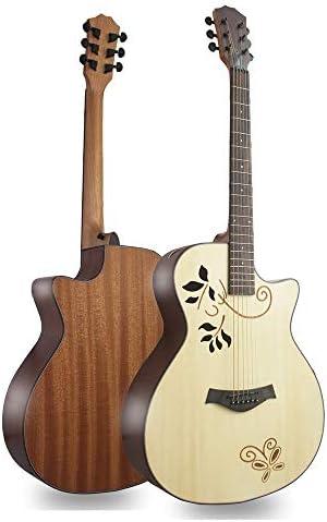 ギター アコースティックギター40インチ・6弦手作りのナチュラルウッドフォークギター初心者の大人 (Color : Photo color, Size : 40 inch)