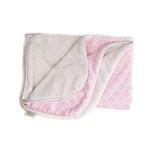 - LUXE BABY Damask Minky Blanket, Pink