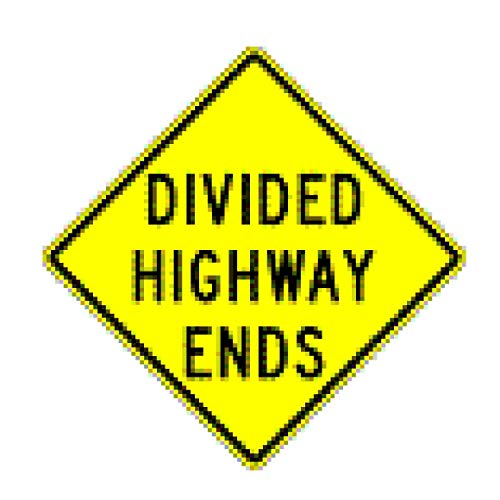 Traffic Signs - Divided Highway Ends (Word Legend) 12 x 18 Magnet Sign Street Weather Approved Sign ()