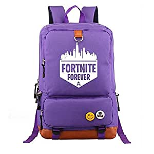 Asdfnfa Backpack, Casual Men and Women Light Travel Knapsack Game Elements Computer Package Student Schoolbags (Color : Purple)
