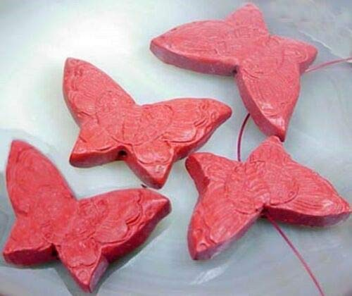 ((4 Beads) 21x34mm Hand Carved Cinnabar Butterfly Pendant Beads)