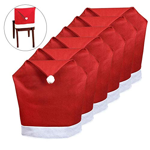 Orgrimmar 6 Pcs Santa Hat Chair Covers Red Hat Chair Covers Sets for Christmas Holiday Festive Decor
