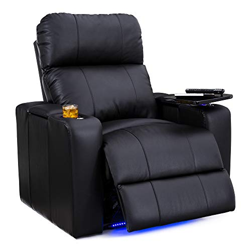 Seatcraft Julius Big & Tall 400 lbs Capacity-Home Theater Seating Leather Recliner-Adjustable Powered Headrest-SoundShaker-USB Charging-Lighted Cup Holders-Black ()