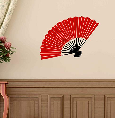 (Vinyl Wall Decal Chinese Oriental Hand Fan Design | Asian Cultural Decor | Red, Black, Gold, Brown, Silver Other Colors | Small and Large Sizes)