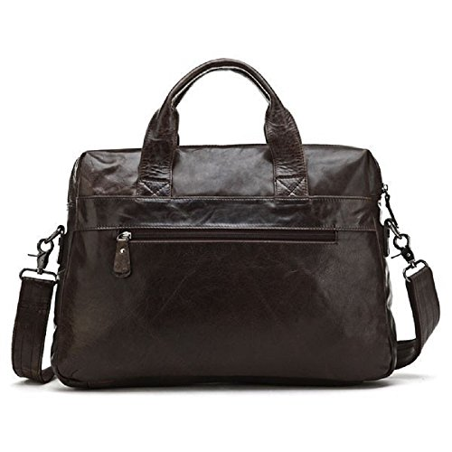 2016nuevo JMD llegada 100% de hombre de piel auténtica negro bolso bandolera bolsa para portátil maletín café