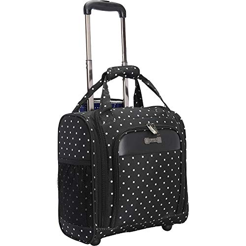 """Kenneth Cole Reaction Dot Matrix 14"""" Lightweight 2-Wheel Underseater Carry-On Luggage, Black/White Polka"""