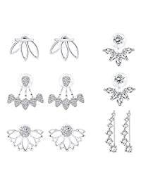 Subiceto 5 Pairs Earring Jacket CZ Stud Lotus Flower Earrings Set For Women Girls