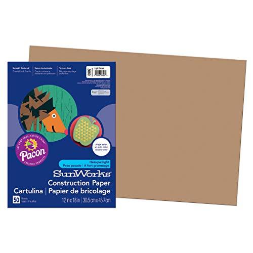 SunWorks PAC6907BN Construction Paper, Light Brown, 12