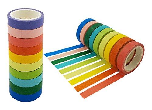 SACKORANGE rfv6 Washi Tape, Decorative DIY Tape Washi Rainbow Candy Color Sticky Paper Masking Adhesive Tape Scrapbooking and Phone DIY Decoration, 20 Rolls