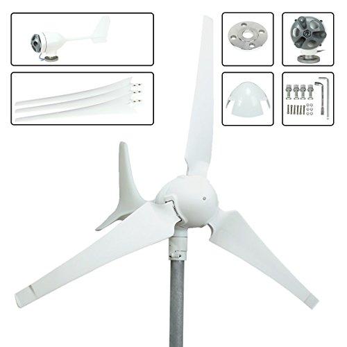 uxcell 100W 12V/24V AC 1.2m wheel diameter 3Pcs 550mm Fiberglass Blades Wind Turbine Generator 2m/s start-up wind - Glasses Generator