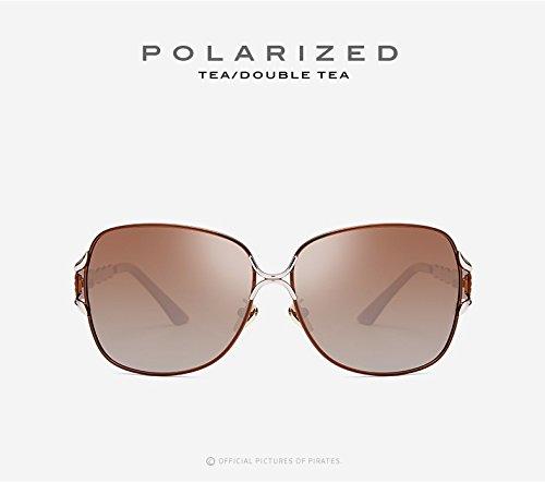 Plein UV400 Mode Grand de décontractée Vintage Miroir en Tea Les Lunettes pour Lunettes Soleil Polaroid Lunettes JCH Soleil de Femmes Conduite Soleil air Adultes p0TZPI