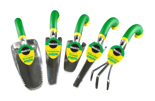 Miracle-Gro MG5SET 5-Piece Ergonomic Hand Tool Set, Includes Trowel, Transplanter, Weeder, Cultivator, and Scooper (Discontinued by Manufacturer)