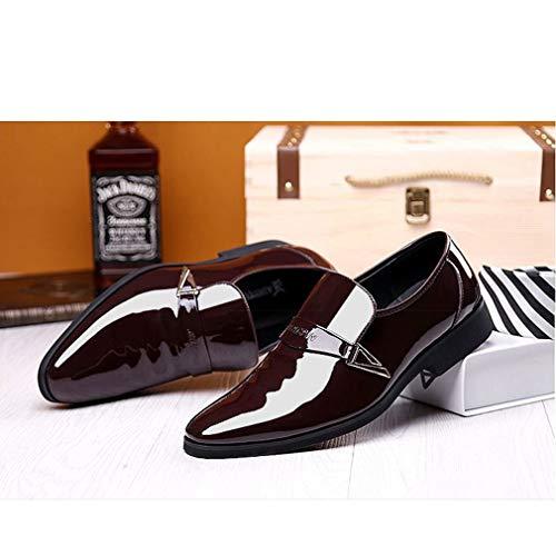 Derby Hibote Bout D'affaires Verni Bureau Casual En Pour Chaussures Pointu Vintage Mariage La Flat Lacets Marron Oxford À Hommes Robe Cuir Mode r7wrqp