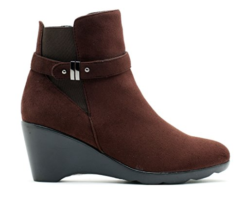 GC Shoes Womens Veronica Round Toe Suede Booties Brown j6U20Q2M