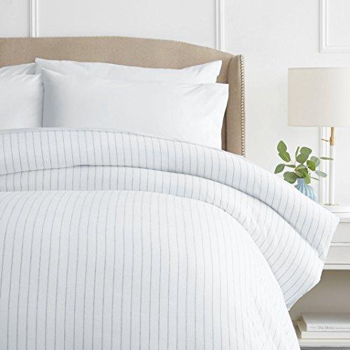 Pinzon 160 Gram Pinstripe Flannel Cotton Duvet Cover, Full / Queen, White Pinstripe (Duvet Cover Queen White Stripe)