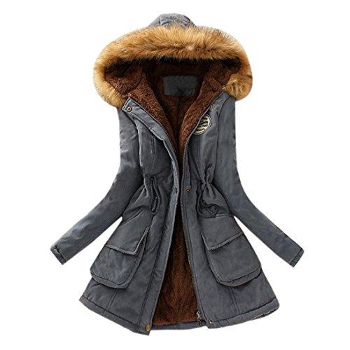 Outwear Collar Jacket Warm Hooded Women ESAILQ Fur Winter Faux Parka Coat Gray Long 4FTqpPqgW