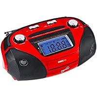 Supersonic SC-1396 Portable MP3 Speaker with USB/SD/AUX INPUTS, AM/FM Radio & Rechargeable Battery (Red)