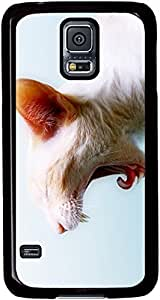 White-Cat Cases for Samsung Galaxy S5 I9600 with Black sides by runtopwell