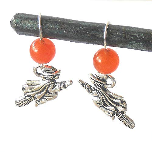 Halloween Witch Flying Under an Orange Moon, Witch Earrings, Sterling Silver Ear Wires, US Made Silver Plated Charms, Jade Beads